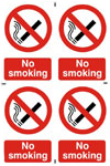No Smoking Prohibition Sign (4 Pack)